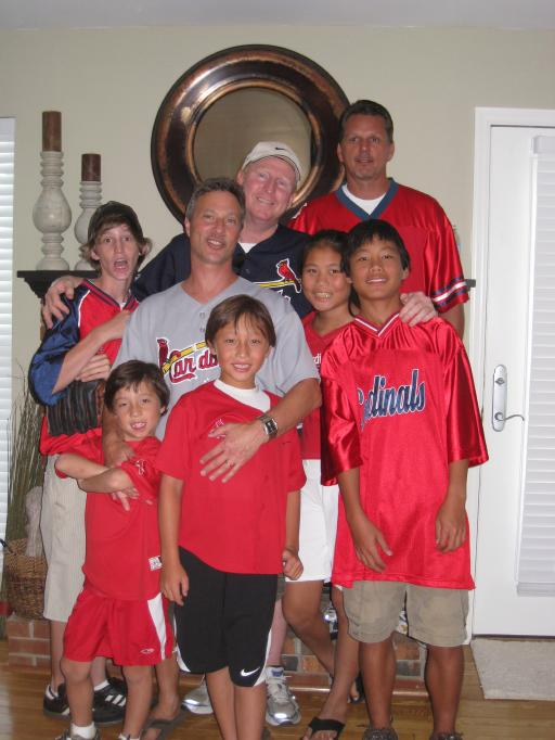 The boys and Anna before the Cardinals game