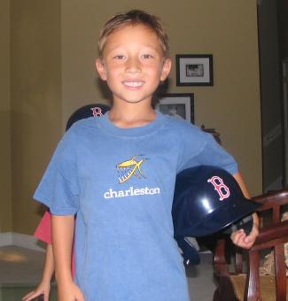 Matthew with his RedSox helmet that Aunt Shari got him