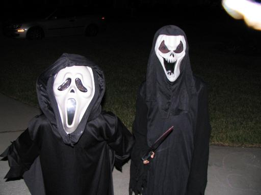 Matthew and Chase on Halloween as 'Scream'