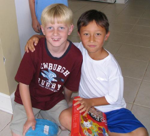 Matthew and his longest friend Cole on Matthew's birthday