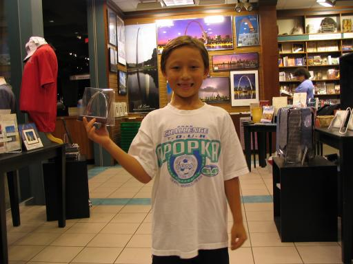 Matthew showing off his pick in the St Louis arch gift shop