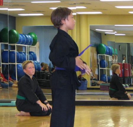 Matthew at his purple belt test