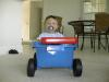 Matthew in his new wagon
