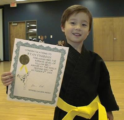 Ryan got his yellow belt!